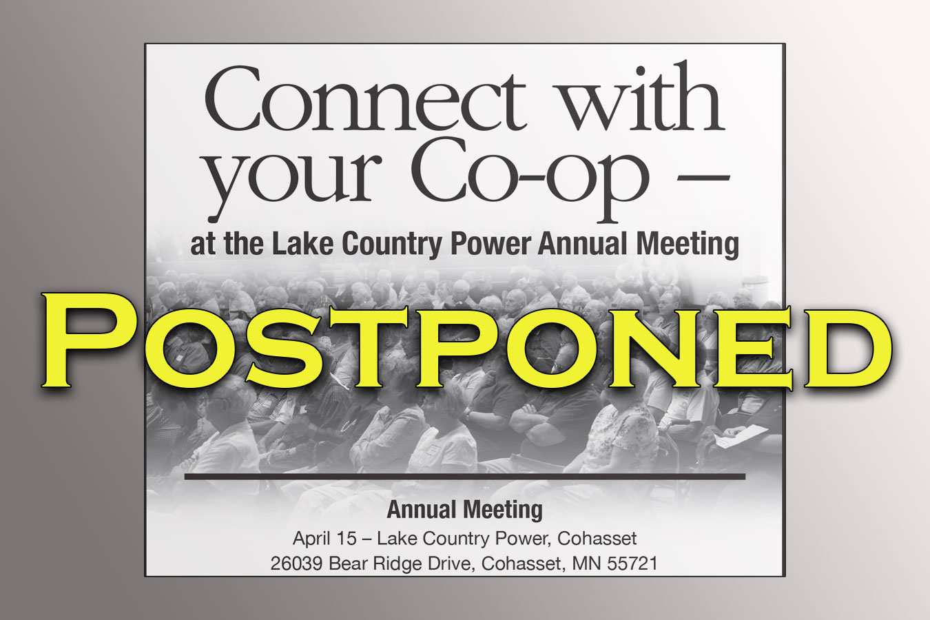 Annual meeting postponed graphic announcement