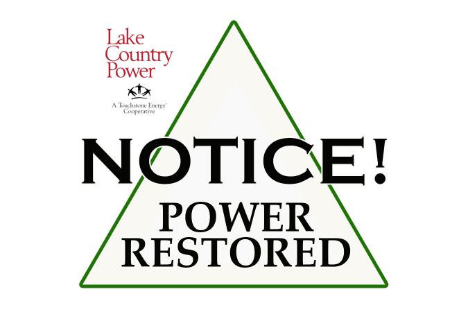 Notice power restored graphic