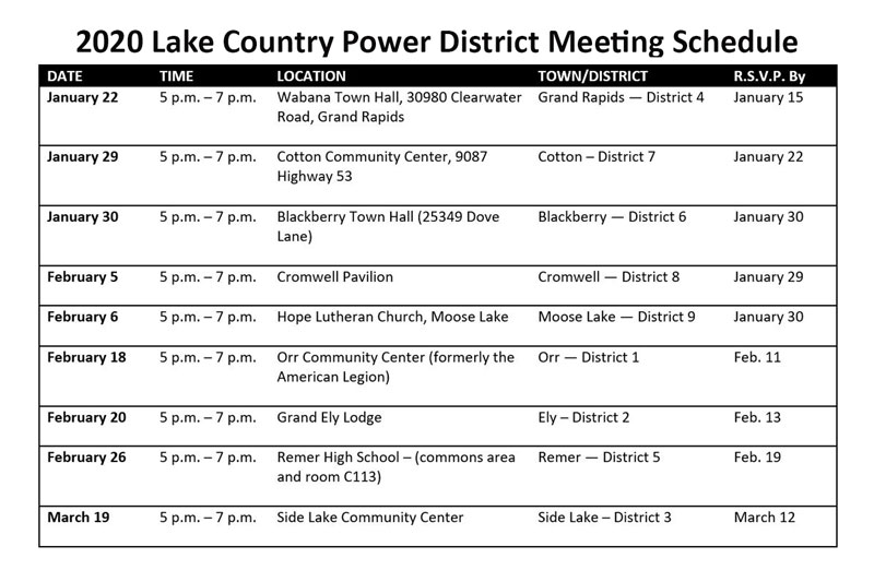 2020 district member meeting schedule
